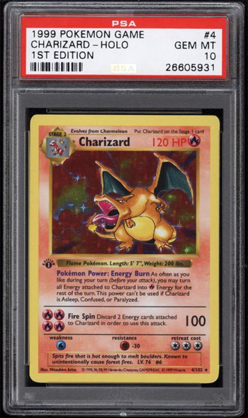 PSA 10 Graded Charizard Card
