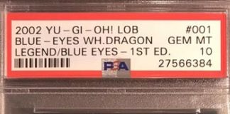 PSA 10 GEM MINT Blue-Eyes White Dragon (LOB-001) 1st edition
