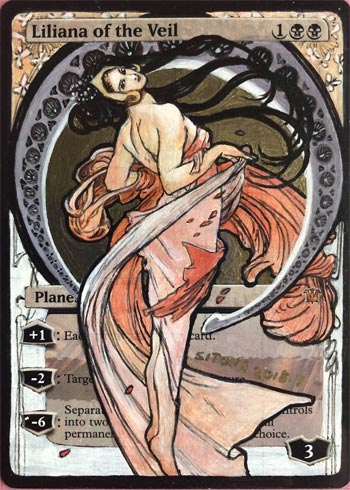 MTG ALTERED ART HAND PAINTED LILIANA OF THE VEIL ALPHONSE MARIA MUCHA BY SITONG