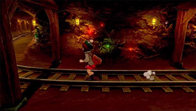 Running through a cave Pokemon Sword & Shield