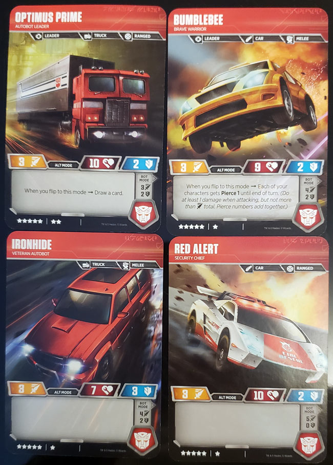 Transformers Character Cards Flipped