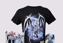 Blue-Eyes White Dragon Cereal and Chocolate Bar by FYE, and T-Shirt by BioWorld