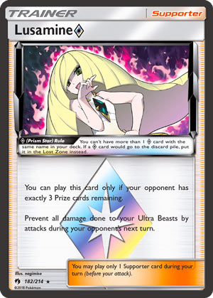 Lusamine Prism Star (Lost Thunder LOT 182)