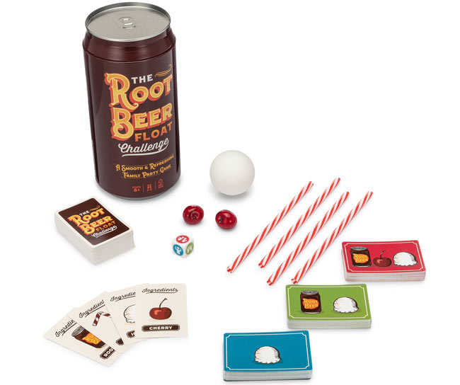 Includes 1 Ice Cream Ball, 2 Cherries, 4 Straws, 1 Root Beer Can, 1 Challenge Die, and 200 Game Cards.