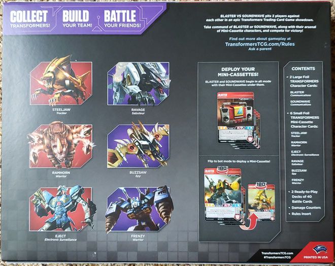 Transformers Blaster VS Soundwave – Back of the Box