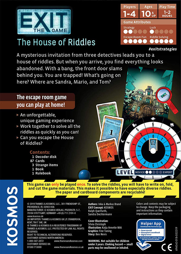 House of Riddles - Back of the Box