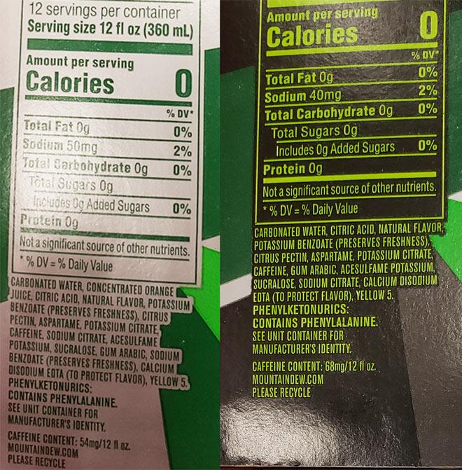 DMD vs MTN Zero ingredients