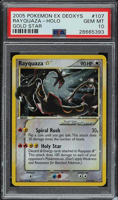 2005 Pokemon EX Deoxys Gold Star Holo Rayquaza #107 PSA 10 GEM MINT