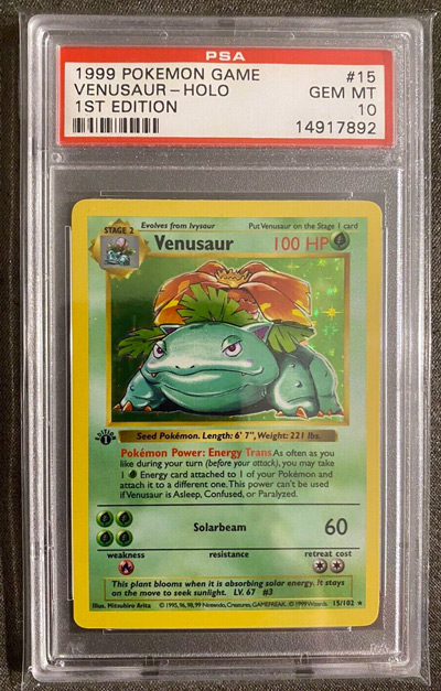 1999 Pokemon Base Set 1st Edition Venusaur GEM MINT PSA 10 #15-102