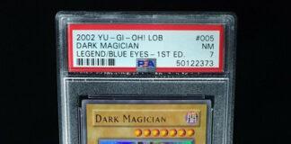 Strong PSA 7 Yugioh 1st Ed Dark Magician LOB-005 1st Ed Legend of Blue