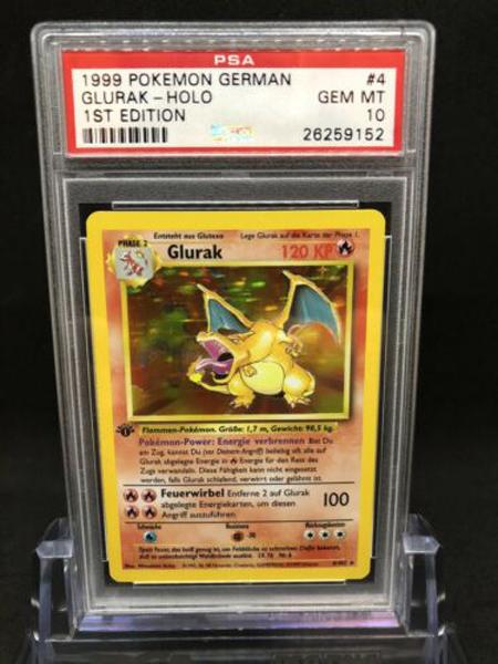 1999 Pokemon Base Set 1st Edition German Holo Charizard Glurak #4 PSA 10