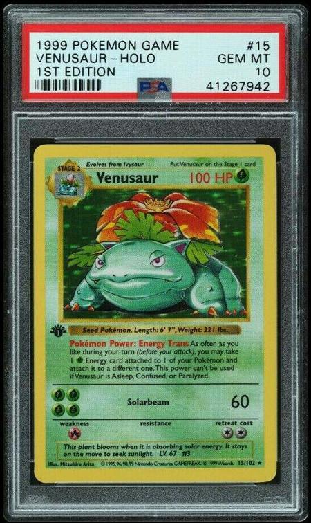 PSA 10 Venusaur 1999 Pokemon Base 1st Ed Shadowless 15/102 GEM MINT